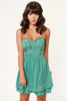 Winter Solstice Beaded Teal Dress from Lulus.com ($51)