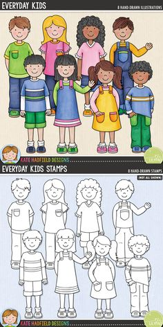 Everyday Kids digital scrapbooking elements. Cute kid clip art. Hand-drawn illustrations for digital scrapbooking, crafting and teaching resources from Kate Hadfield Designs! Click through to see projects created using these illustrations!