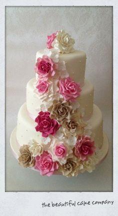 Blush Rose & Ivory Wedding Cake