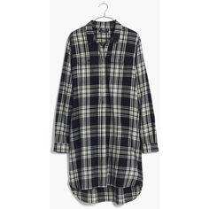 MADEWELL Flannel Daywalk Shirtdress in Glendale Plaid (69 AUD) ❤ liked on Polyvore featuring dresses, shirts, tops, flannels, true black, long shirt dress, madewell, flannel dress, shirt dress and tartan shirt dress