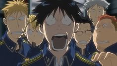 Anime/manga: Fullmetal Alchemist (Brotherhood) Characters left to right: Havoc, Hawkeye, Roy, Fuery, Falman (up), and Breda, wonder what happened...