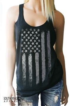 American Flag Tank Top. 4th of July. Festival Tank. Memorial Day. Stars and Stripes. Music Festival. Country Music. Patriotic. Flag.