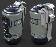 Sci fi Grenade wip, David de Leon on ArtStation at https://www.artstation.com/artwork/39wPA