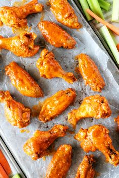An easy, foolproof Buffalo Wing Sauce, plus the all-time best crispy, baked chicken wings recipe along with a bonus blue cheese dip option! Chicken Wing Marinade, Baked Chicken Wings, Chicken Wing Recipes, Recipe Chicken, Thai Chicken, Chicken Tenders, Barbacoa, Homemade Buffalo Sauce, Homemade Chili