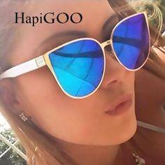 HapiGOO 2016 New Oversize Cat Eye Sunglasses Women Fashion Summer Style Big  Size Frame Mirror Sunglasses Female Oculos 1387d72997f2