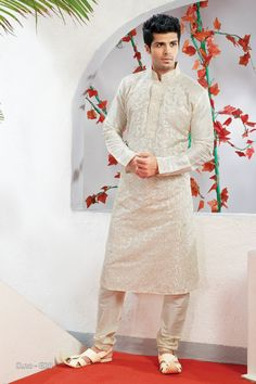 Beige Poly Dupion Readymade Kurta with Churidar  http://www.silk-india.com/en/82-kurta-pajama 53.99$  Now, place your Order now : Email:- raksha@silk-india.com