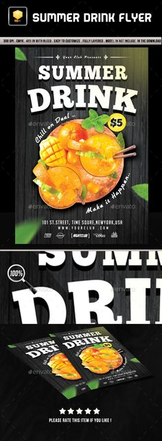Summer Drink Flyer Template PSD. Download here: http://graphicriver.net/item/summer-drink-flyer-template/16655730?ref=ksioks