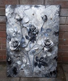 Commission  3d roses painting by Anna Marija Bulka Large Canvas Wall Art, 3d Wall Art, Abstract Wall Art, Modern Wall Art, 3d Painting, Large Painting, Silver Wall Art, Found Art, Unique Paintings
