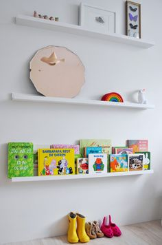 Ribba from Ikea as book shelf - I have to find out if these are the shelves with the ledge... so great for picture frames