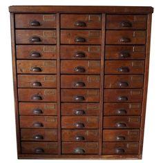 German Pine Apothecary Bank of Drawers, 1930s | 1stdibs.com