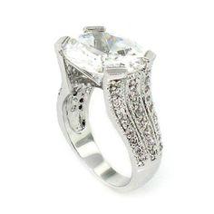 Vintage/Modern Engagement Ring w/White CZ & pavé: Alljoy: Jewelry