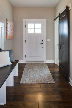 Revere Pewter by Benjamin Moore - it's a great paint color to be used with dark hardwood floors