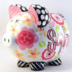 Personalized Ceramic Piggy Bank. Black, Hot Pink & Yellow