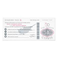 Boarding Pass to Cyprus Wedding Invitation   Zazzle.co.uk