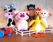 35% Off: 5 Farm Stuffed Animal Hand Sewing PATTERNS - Make Your Own Hand-embroidered felt Cow, Pig, Horse, Chicken, Lamb - Easy