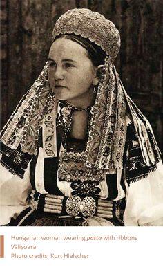 Romania. Hungarian woman wearing parta with ribons. Valisoara. by Kurt Hielscher. Folkwear-Society-History-hungarian-woman-02.png (720×1180)