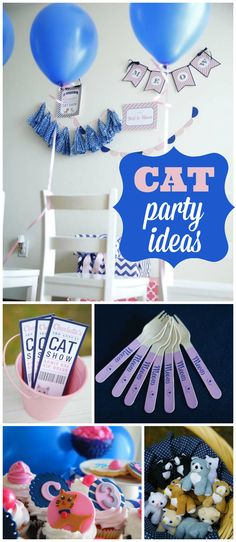 What a fun preppy kitty party! With an adoption center and a cat show! See more party planning ideas at CatchMyParty.com!