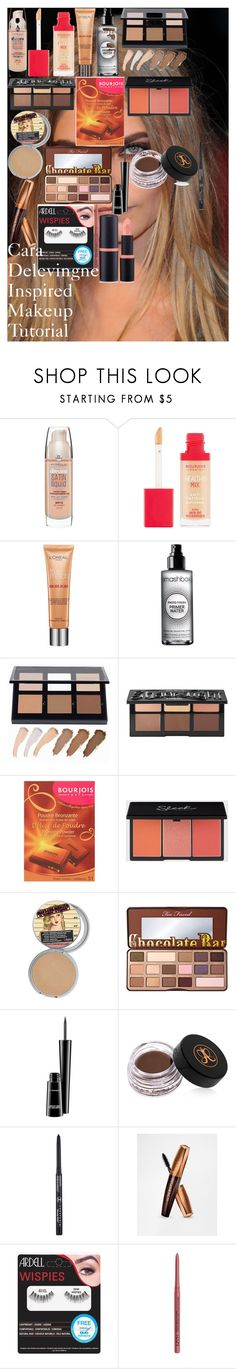 """""""Cara Delevingne Inspired Makeup Tutorial"""" by oroartyellie on Polyvore featuring beauty, Maybelline, Bourjois, L'Oréal Paris, Smashbox, Anastasia Beverly Hills, Kat Von D, Too Faced Cosmetics, MAC Cosmetics and Rimmel"""