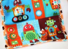 Robots Crochet Edge Fleece Baby Doll by MonaSewingTreasures
