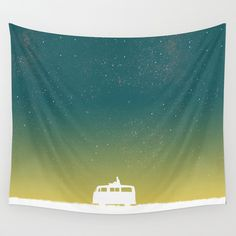 Quiet night and starry sky Wall Tapestry