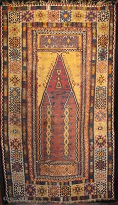 Large antique Anatolian prayer kilim from Yahyali, early 20th Century