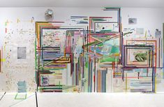 "FRANKLIN EVANS_throughfriedrichsfuture, 2009, acrylic, painted tape, tape, thread and watercolor on paper on wall, 120"" x 300"" Sue Scott Gallery, New York"