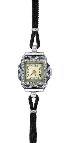 Art Deco Diamond and Synthetic Sapphire Wristwatch, circa 1920