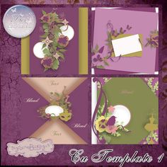 CU Template Pack 1 by Bee Creations Scrapbook Paper, Four Square, Digital Scrapbooking, Creations, Bee, Packing, Templates, Purple, Frame