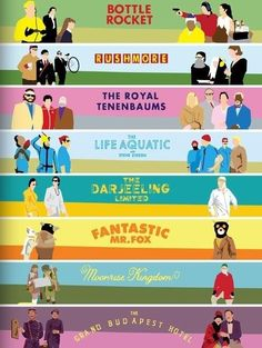 wes anderson films in colour palettes! The Grand Budapest Hotel is my favourite Wes Anderson Style, Wes Anderson Movies, West Anderson, Martin Scorsese, Stanley Kubrick, Great Films, Good Movies, 7 Arts, The Royal Tenenbaums