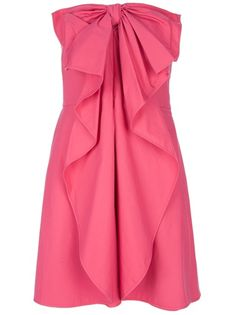 Pink strapless cotton dress from Valentino featuring a large bow detail at the chest, a central ruffle detail and a concealed zip fastening.