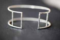 Rectangles .silver beaded cuff bracelet. Sterling by LUNATICART