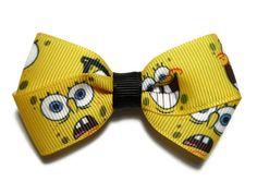 3 in Medium Spongebob Boutique Hair Bow by mmslittleshoppe on Etsy, $3.00
