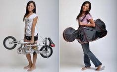 Foldable Bike - 2: The VeloMini Folding Electric Bike weighs just 31lbs, can take a rider of up to 210 lbs, and transport a person from eight to ten miles at speeds of up to 12 mph or 19 km/h. When not in use it folds down to a compact form 18-inches tall.