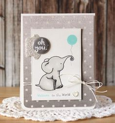baby card, elephant Welcome to the World by Laurie Schmidlin