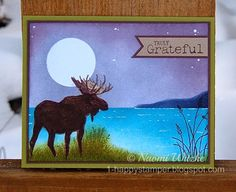 One Happy Stamper: Moonlit Moose Thank You Card.  Stampin' Up Walk in the Wild, Wetlands, Truly Grateful.  Designed and created by Naomi Witzke.