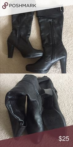 """Andrew Geller knee high black boots Hardly been used, in excellent condition Size 9M Knee high, Stretch, Elastic at Back of Boot Top.  4"""" Heels , Cushioned Inner Soles , Soft All Man Made Materials Andrew Geller Shoes Over the Knee Boots"""