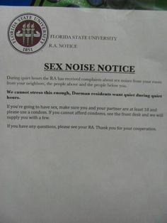 SEX NOISE NOTICE