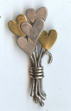 Vintage Stylish Signed Far Fetched Mixed Metal Heart Bouquet Brooch Pin | eBay