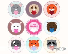 Hey! Download original Temotato's lovely animals vector clipart, it's free and can be used for St. Valentine's Day greeting cards design. All animals are amazing and lovely 100% guaranty! All animals are keeping little hearts in hands because it's cute and lovely. Animals are placed in circle for your safty. There are little grey mouse, suspicious hedgehog, stoned fox, nice rabbit, not nice bear, something looks like cat, healthy squirrel, sneaky raccoon and love animals badge.