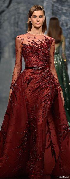 ziad nakad couture fall 2017 long sleeves illusion jewel heavily beaded embellishment glamorous red sheath wedding dress a  line overskirt sheer button back chapel train (21) lv -- Ziad Nakad Couture Fall 2017 Dresses