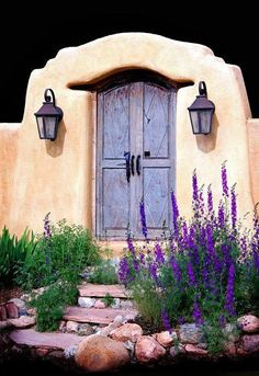 Lavender lining up to the lavender painted door, Santa Fe, NM. Gorgeous!