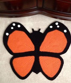 Crochet Butterfly Rug by peanutbutterdynamite on Etsy, $75.00