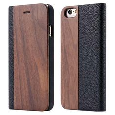 Natural Wood Leather Card Holster Housing for Apple iphone 6 6s 6 s 4.7 Real Wooden Phone Cases