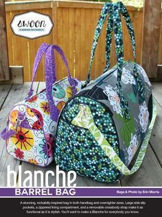"""A stunning, rockabilly-inspired bag in three different sizes, 10.5"""", 12"""" and 14"""" wide. Large side slip pockets, a zippered lining compartment, and a removeable crossbody strap make it as functional as it is stylish. You'll want to make a Blanche for every"""