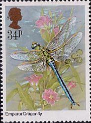 Insects 34p Stamp (1985) Ana imperator (dragonfly) Uk Stamps, Postage Stamp Art, Dragonfly Art, Fabric Stamping, Insect Art, Penny Black, Mail Art, Stamp Collecting, United Kingdom