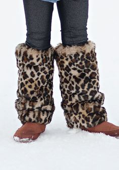 Girls' Leopard Faux Fur Leg Warmers | Fabulous-Furs