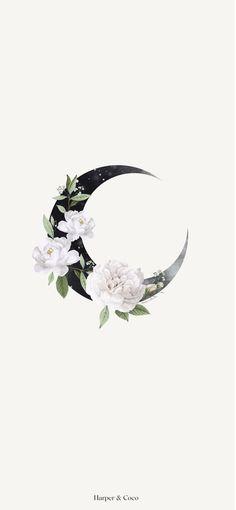 Moon wall art  Celestial poster  Bohemian poster  Beige black wall art  Moon floral   Flowers Art  I