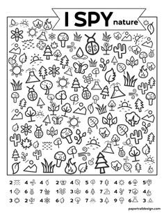 Free Printable I Spy Nature Game. Outdoor themed boredom buster game for kids to play on a cold rainy winter day, in the summer, or on a road trip. fun winter Free Printable I Spy Nature Game - Paper Trail Design Learning Activities, Preschool Activities, Kids Learning, Kids Printable Activities, Fun Worksheets For Kids, Printable Mazes, Summer Activities, I Spy Games, Paper Games For Kids