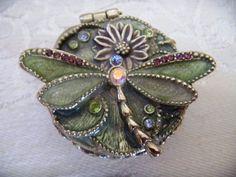 Vintage Dragonfly Pill Box Monet Trinket Box Enamel Rhinestones