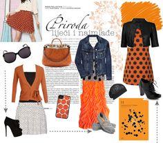 """Orange and polka dots"" by michalea-bland-nichols on Polyvore"